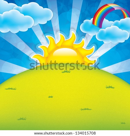 Spring frame with sun and clouds - stock vector