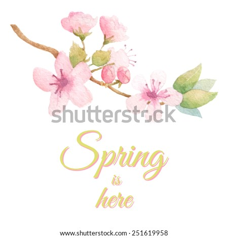 Spring fresh background with blossom tree branch. Vector watercolor. Pastel colors. - stock vector
