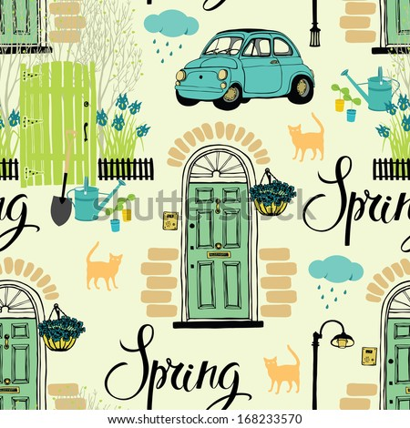 Spring garden and blooming irises, cats and cars. Calligraphy - stock vector