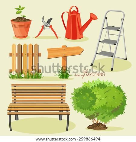 Spring gardening. Garden icon set - stock vector