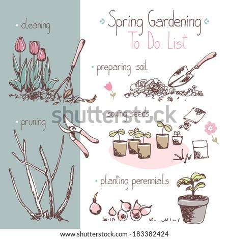 spring gardening to do list - stock vector