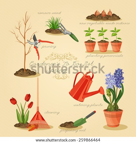 Spring gardening to do list. Card gardener set. - stock vector