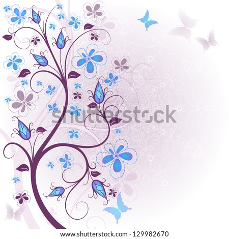 Spring gentle floral easter frame with translucent flowers and butterflies (vector EPS 10) - stock vector