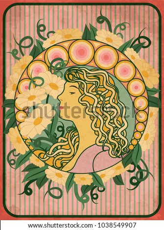 Spring girl card in art nouveau style, vector illustration