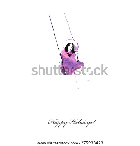Spring girl - illustration. Vector holiday card. Colorful abstract texture. Mother's greeting card. Valentine's day background. Girl on swing.