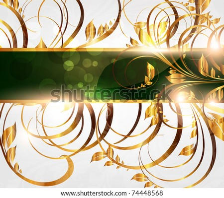 Spring golden card with seamless ornament at background and sun shine. eps 10 - stock vector