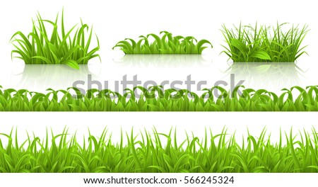 Spring grass seamless pattern and icons, 3d vector set