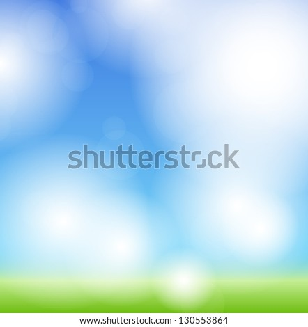 Spring green background. Grass and sky. - stock vector