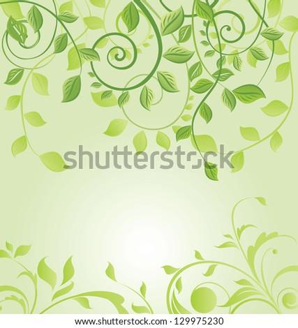 Spring green floral card - stock vector