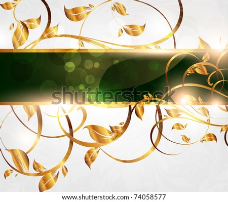 Spring green golden card with seamless ornament at background and sun shine. eps 10 - stock vector