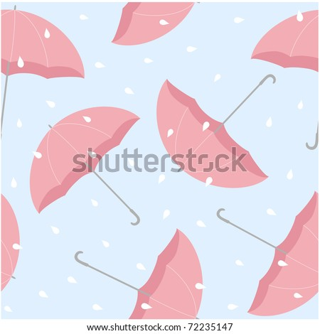 Spring gunky seamless pattern  with umbrellas - stock vector