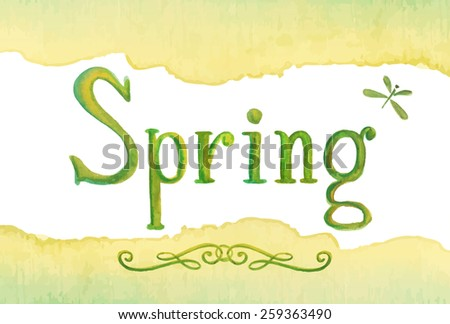 Spring - hand drawn watercolor word lettering, green vector illustration - stock vector