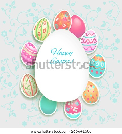 Spring holiday card with easter painted eggs. Copy space - stock vector