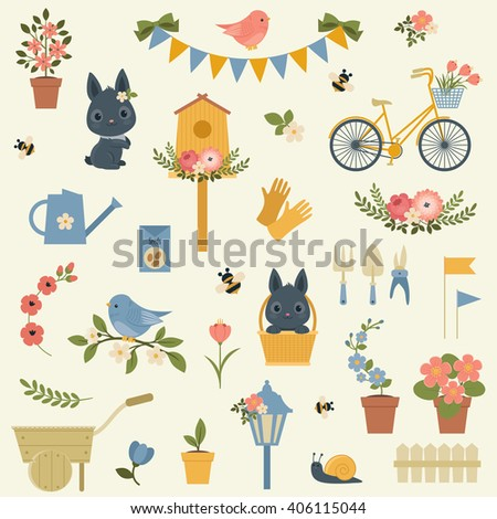 Spring icons collection. Beautiful vector clip-art. All icons are grouped for easy moving - stock vector