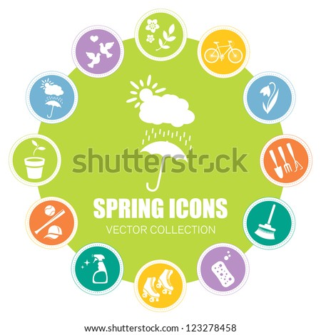 Spring icons, vector illustration - stock vector