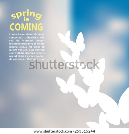 spring is coming. spring time vector typography design on blurred background. sky with clouds - stock vector