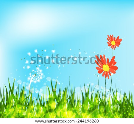spring is coming with sunflowers and dandelion - stock vector