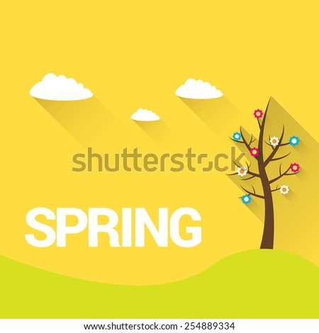 spring label or sign. spring landscape vector illustration can be used for banner and posters. - stock vector