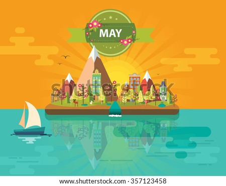 Spring landscape. Small town. Set 1 of urban buildings. Calendar. Month of May. Infographics. Mountains, sun, rays, nature, river, park, city. Flat design. Stock. Image. Illustration. Vector. - stock vector