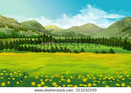 Spring landscape vector background - stock vector