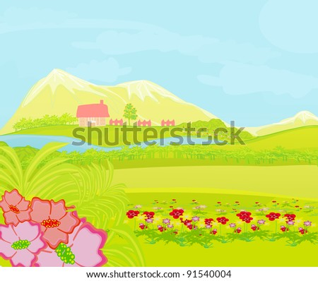 Spring landscape.Vector Illustration