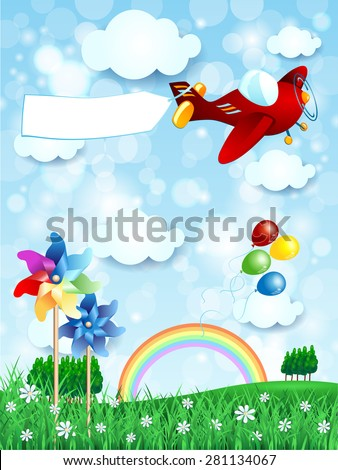 Spring landscape with airplane and banner, vertical version. Vector illustration
