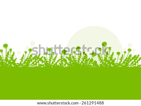 Spring landscape with dandelions flowers vector background green ecology environmental concept - stock vector