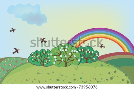 Spring landscape with rainbow and birds - stock vector
