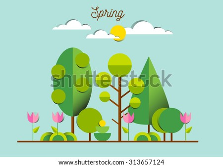 Spring landscape with tulips, trees, grass, sunny weather. Nature. Outdoor, green park, garden, environment. - stock vector