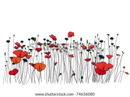 Spring meadow. - stock vector