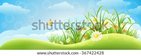 Spring meadow background  with grass, flowers and sky - stock vector