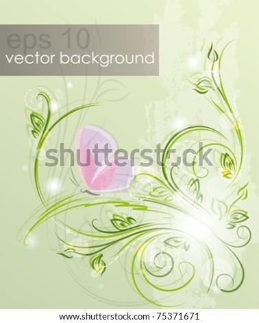 Spring meadow. Floral background with butterfly. Eps10. - stock vector