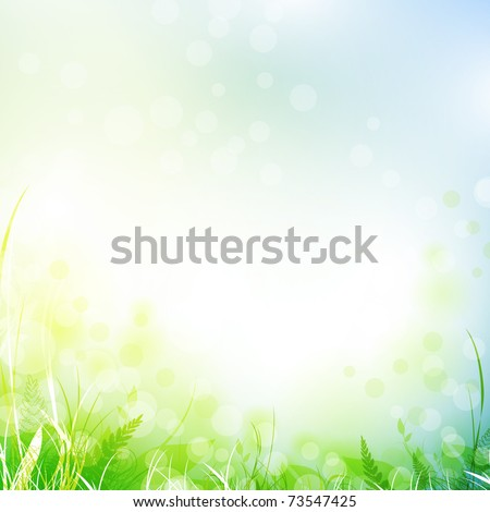 spring meadow with green grass over blue sky, copyspace - stock vector