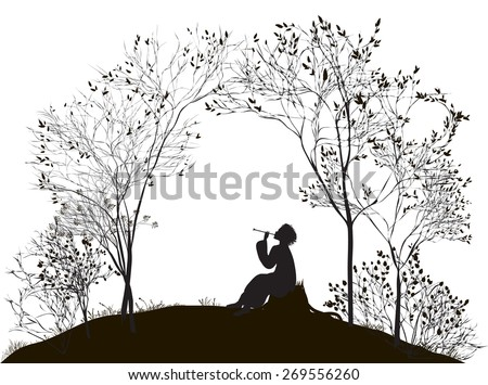 spring melody, boy sitting on the stump between the trees and playing on reed pipe, vector - stock vector