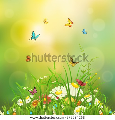 Spring nature background with green grass, flowers and butterflies - stock vector