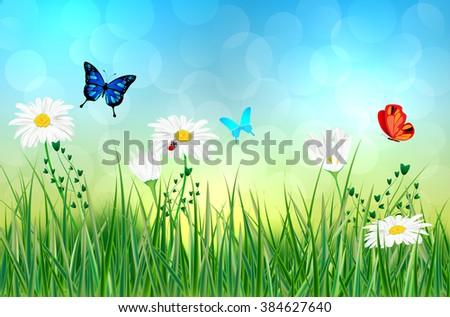 Spring or summer abstract meadow with daisy flowers and butterflies - vector illustration - stock vector