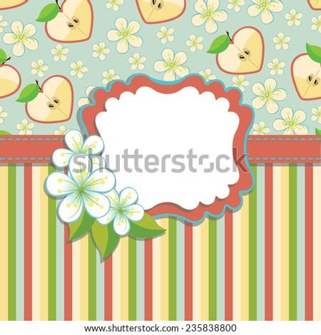 Spring or summer background. Cherry Flowers , Apple ,strips.Design template.Label with flowers.Use as template,cover,background,baby design.Vector illustration - stock vector