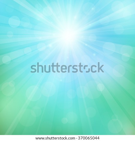 Spring or summer background with bokeh lights. Abstract illustration with sun beams and defocused lights. Sunny natural background. Blurred soft backdrop. Vector illustration. EPS10 - stock vector