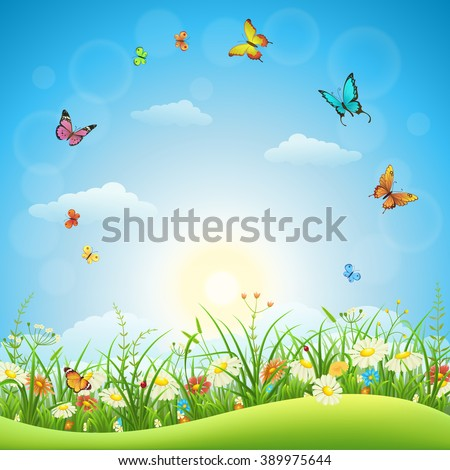 Spring or summer landscape with green grass, flowers and butterflies - stock vector