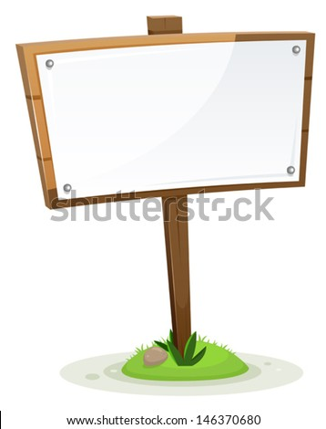 Spring Or Summer Rural Wood Sign/ Illustration of a spring or summer rural wooden cartoon wood sign with paper, isolated on white background - stock vector