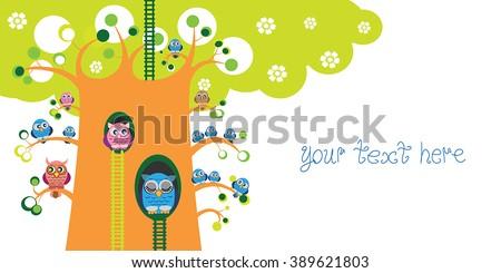 Spring owl tree vector design place stock vector 389621803 spring owl tree vector design with place for text bright color funny owls family voltagebd Gallery