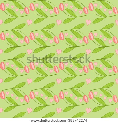 Spring pattern vector seamless with tulips and hearts. Tulip background with pink flowers on green - stock vector