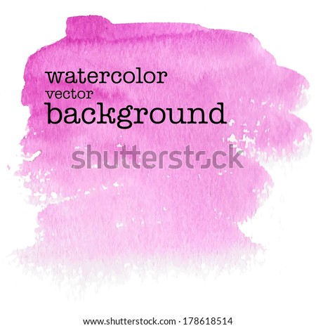 spring pink floral abstract watercolor background on canvas or paper - vector illustration - stock vector
