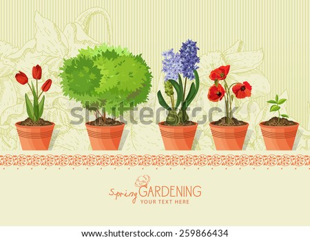 Spring plants and flowers in clay pot on beige background - stock vector