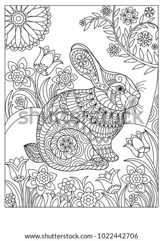 Spring Rabbit Coloring Page For Adult And Children Easter Background With Creative Cute Bunny