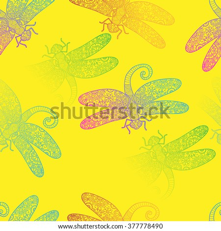 Spring rainbow dragonfly texture design vector pattern template