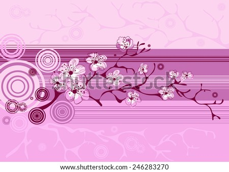 spring sakura blossom vector background - stock vector