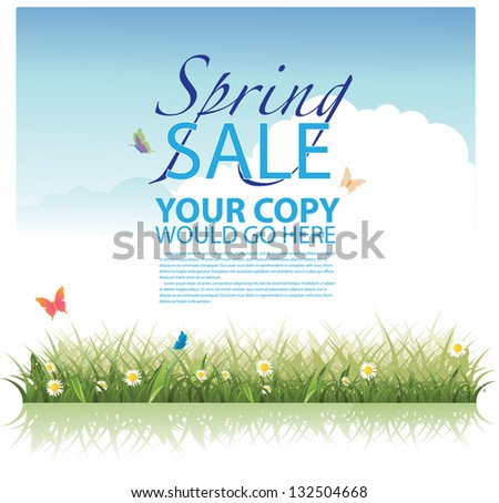Spring Sale Background Template. EPS 8 vector, grouped for easy editing. No open shapes or paths. - stock vector
