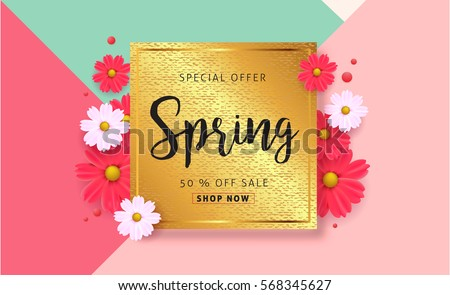 Spring sale background with beautiful colorful flower. Vector illustration template.banners.Wallpaper.flyers, invitation, posters, brochure, voucher discount.