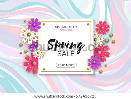 Spring sale background colorful flower vector stock vector spring sale background with colorful flower vector illustration template banners trendy colors stopboris Image collections
